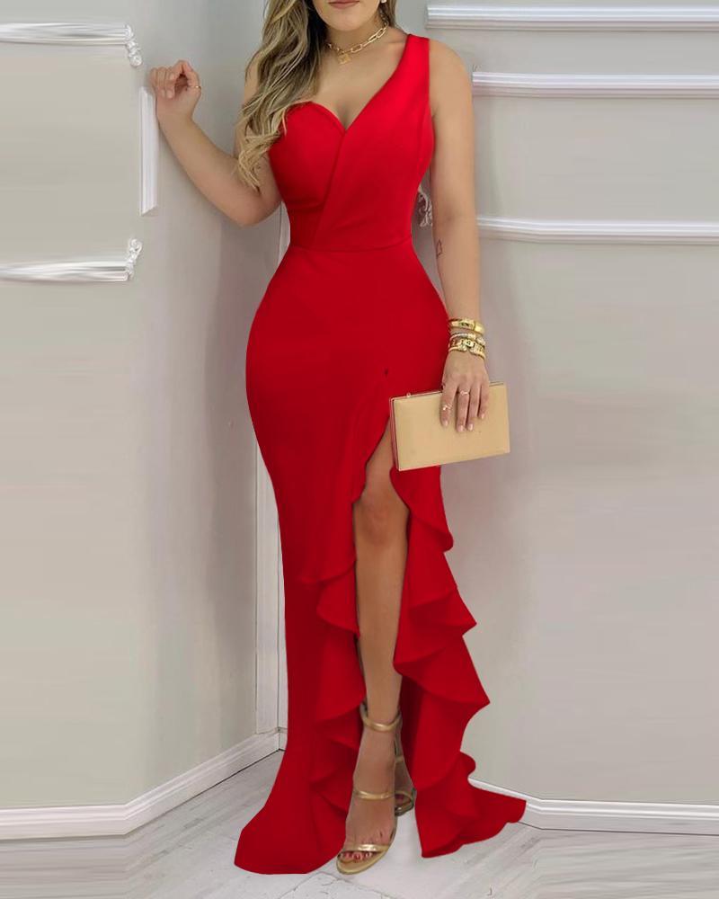 Solid Color One Shoulder Asymmetrical Ruffle Hem Split Bodycon Dress Slim Cocktail Dress Sleeveless Maxi Party Dress