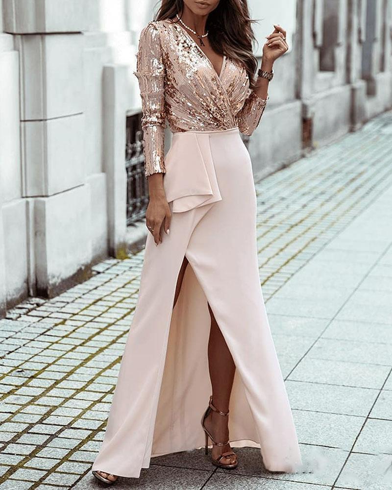 Contrast Sequin Long Sleeve Split Thigh Prom Maxi Dress