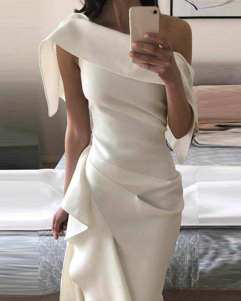 One Shoulder Ruched Ruffle Hem Slit Dress, White