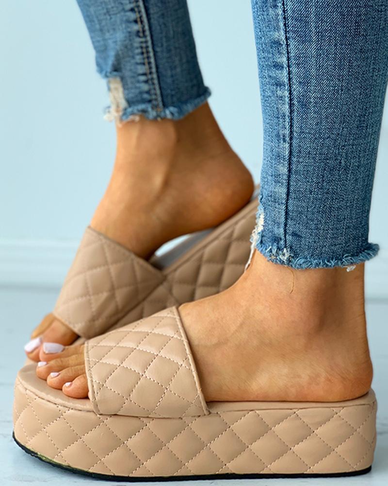 Quilted Open Toe Platform Flat Sandals