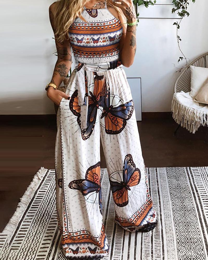 Butterfly Print Sleeveless wide Leg Jumpsuit
