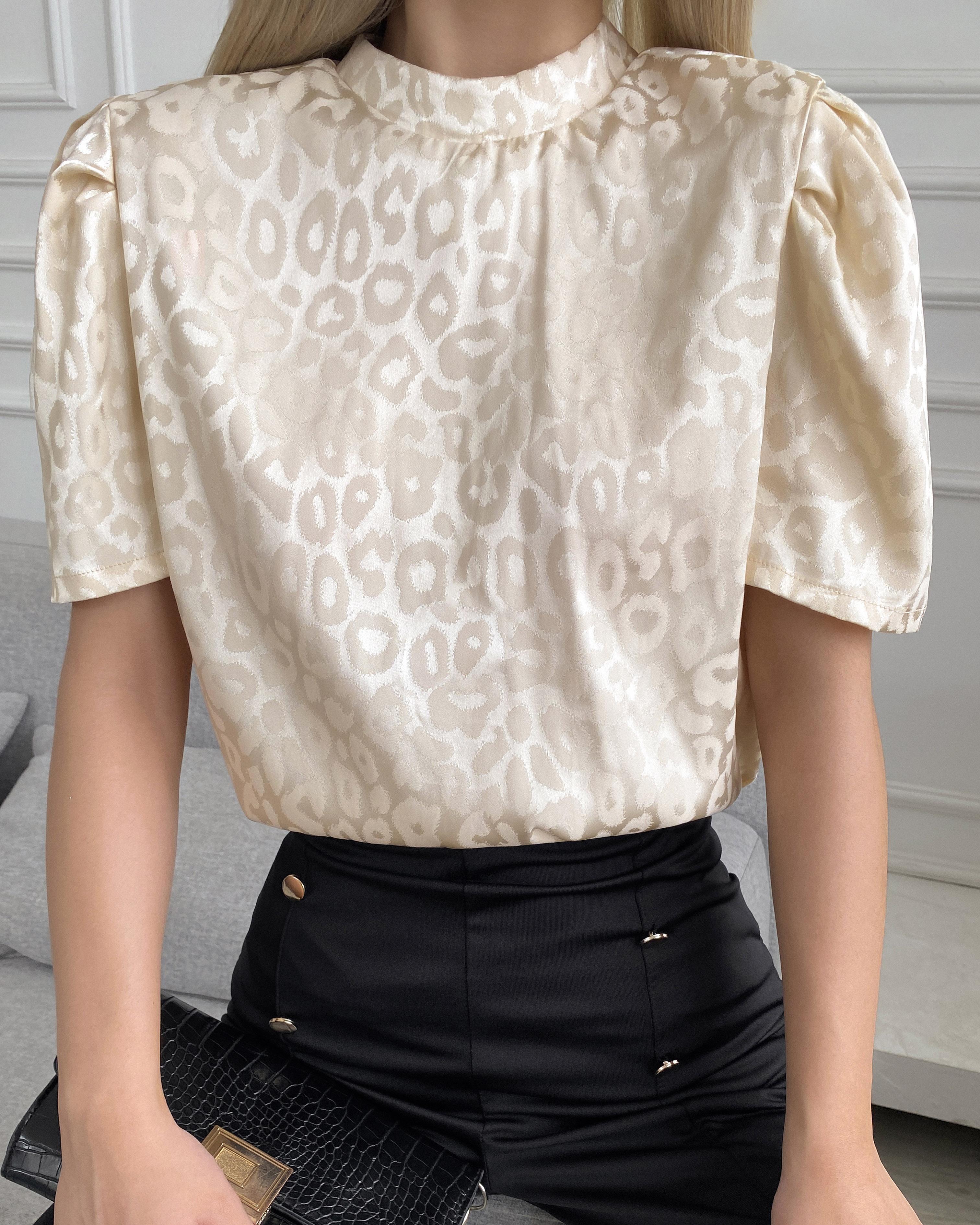 Cheetah Pattern Print Puff Sleeve T-shirt