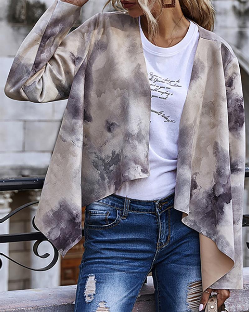 Tie Dye Print Long Sleeve Suede Coat