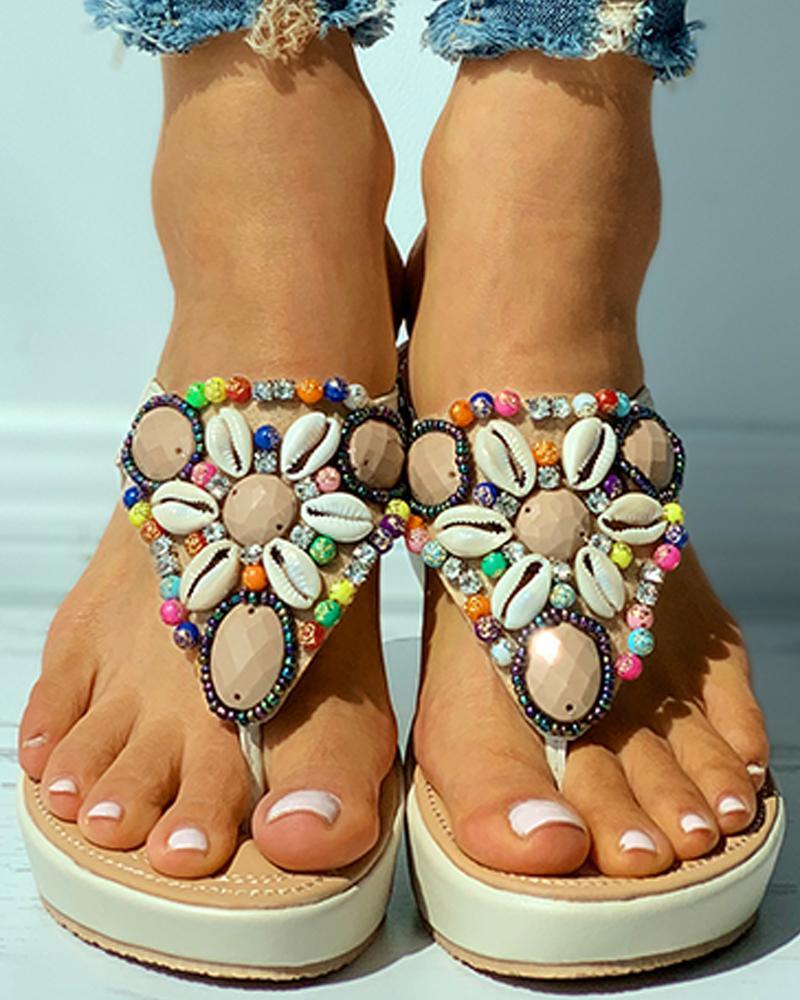 Rhinestone Shell Pattern Toe Post Wedge Sandals