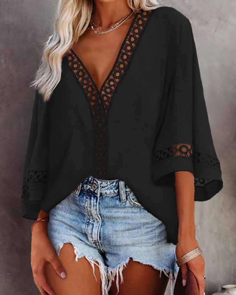 Lace Patch V Neck Casual Top