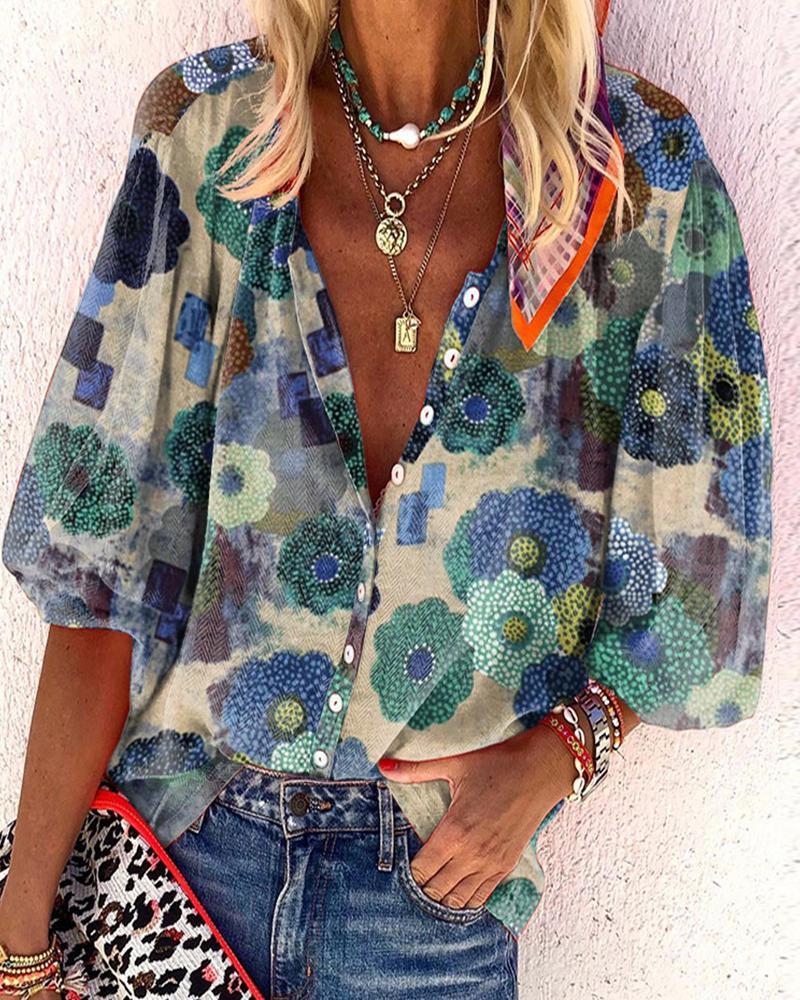 Floral Print Buttoned Lantern Sleeve Shirt