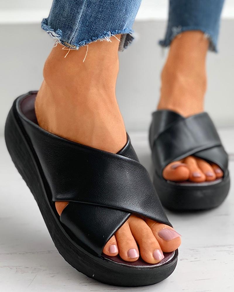 Bandage Peep ToeWedge Sandals thumbnail