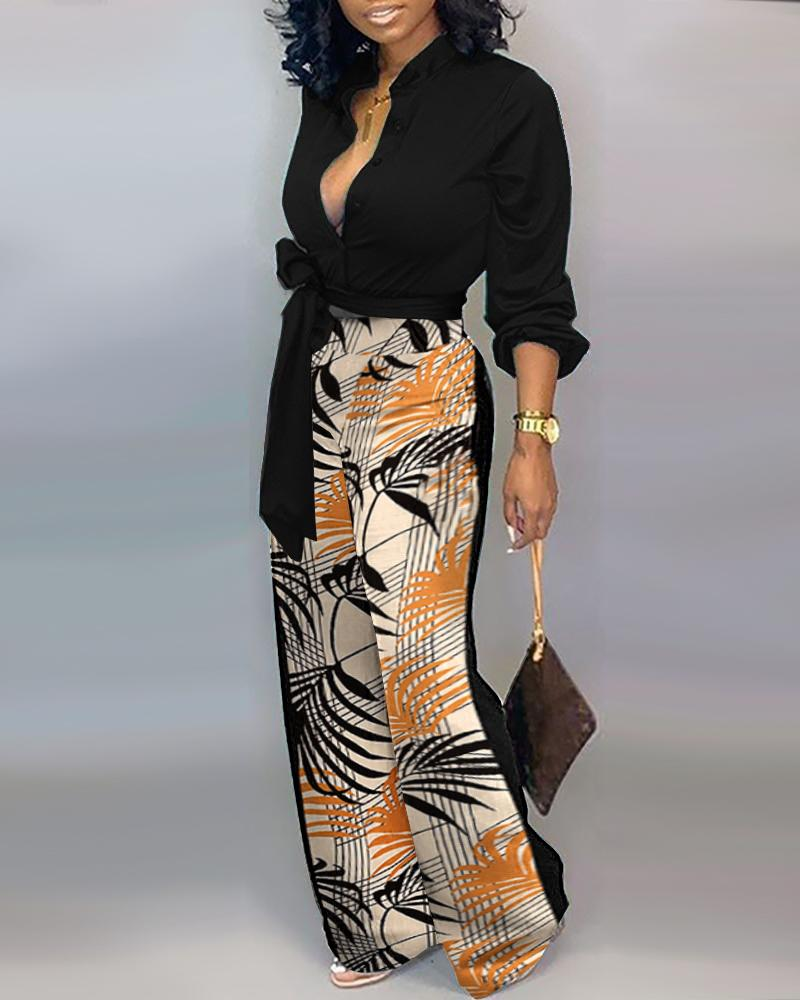All Over Print Lace Up Plunge Long Sleeve Jumpsuit, Black