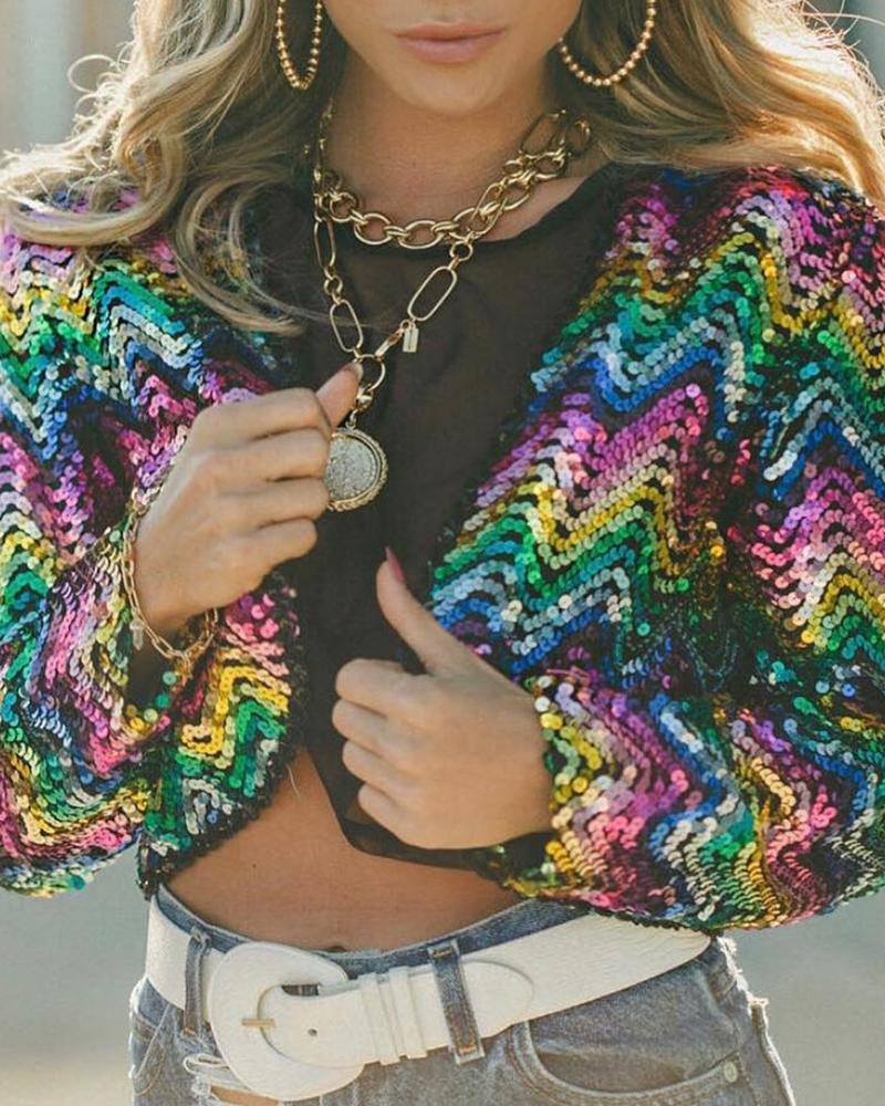 Long Sleeve Colorful Allover Sequins Jacket