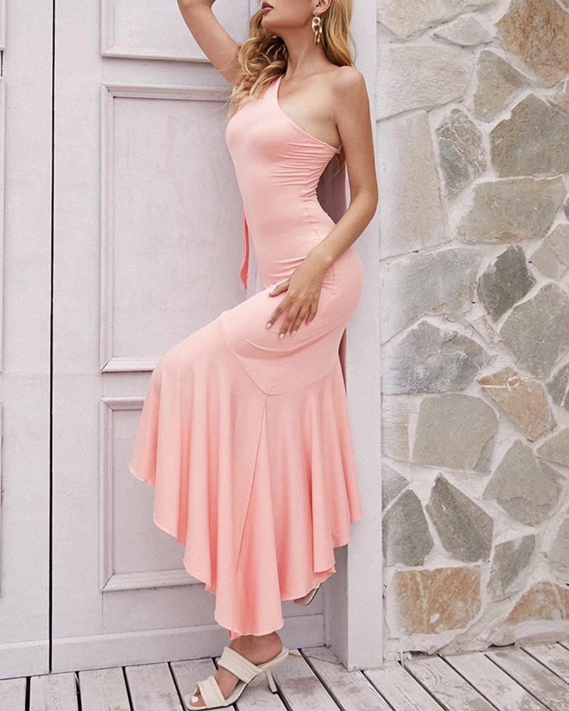 One Shoulder Ruched Asymmetrical Ruffles Party Dress