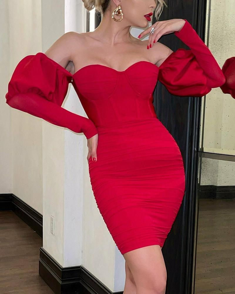 Off Shoulder Lantern Sleeve Ruched Bodycon Dress