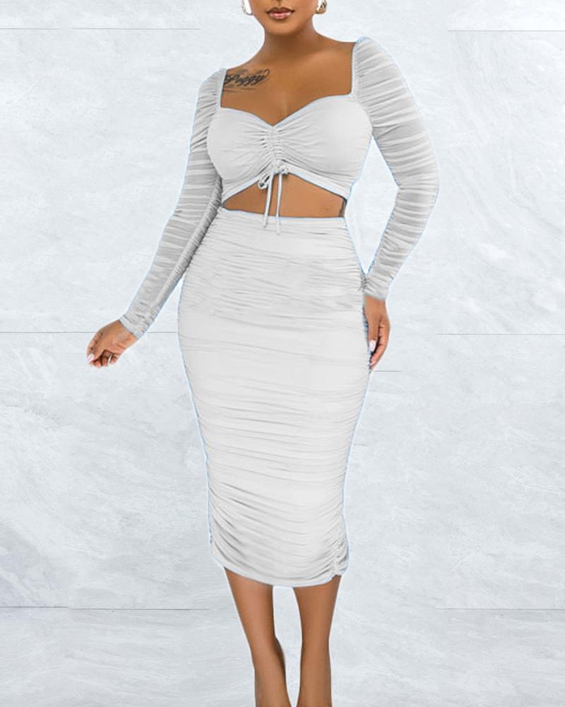 Contrast Mesh Drawstring Ruched Crop Top & Skirt Set