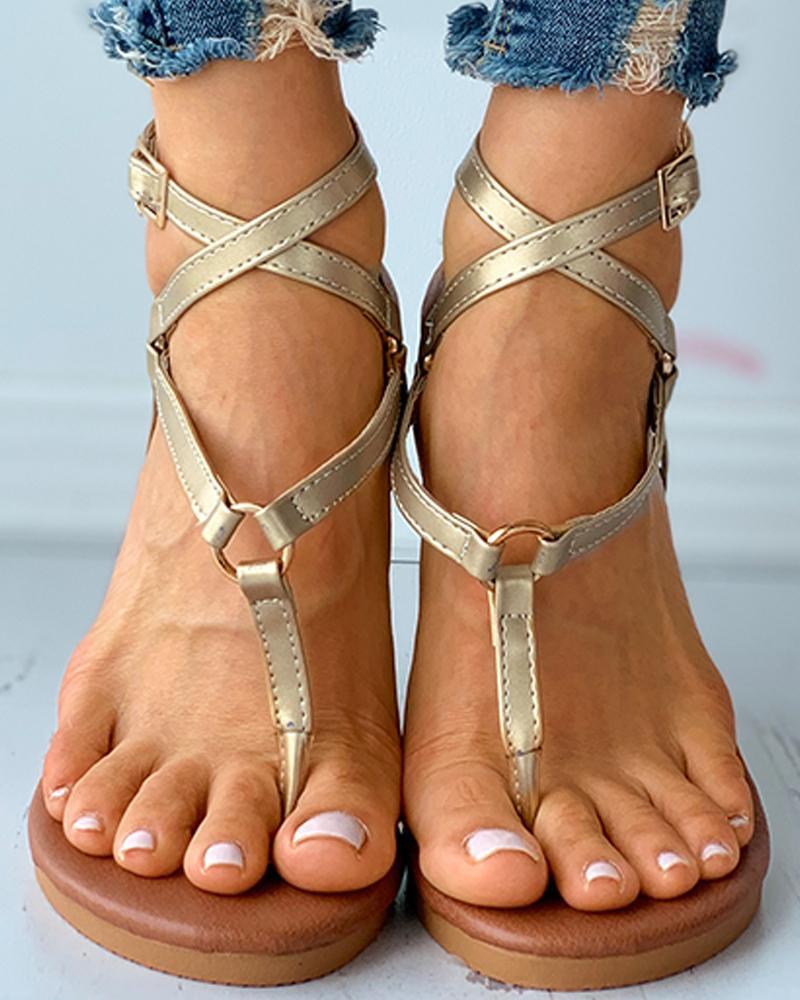Toe Post O-Ring Buckled Flat Sandals thumbnail