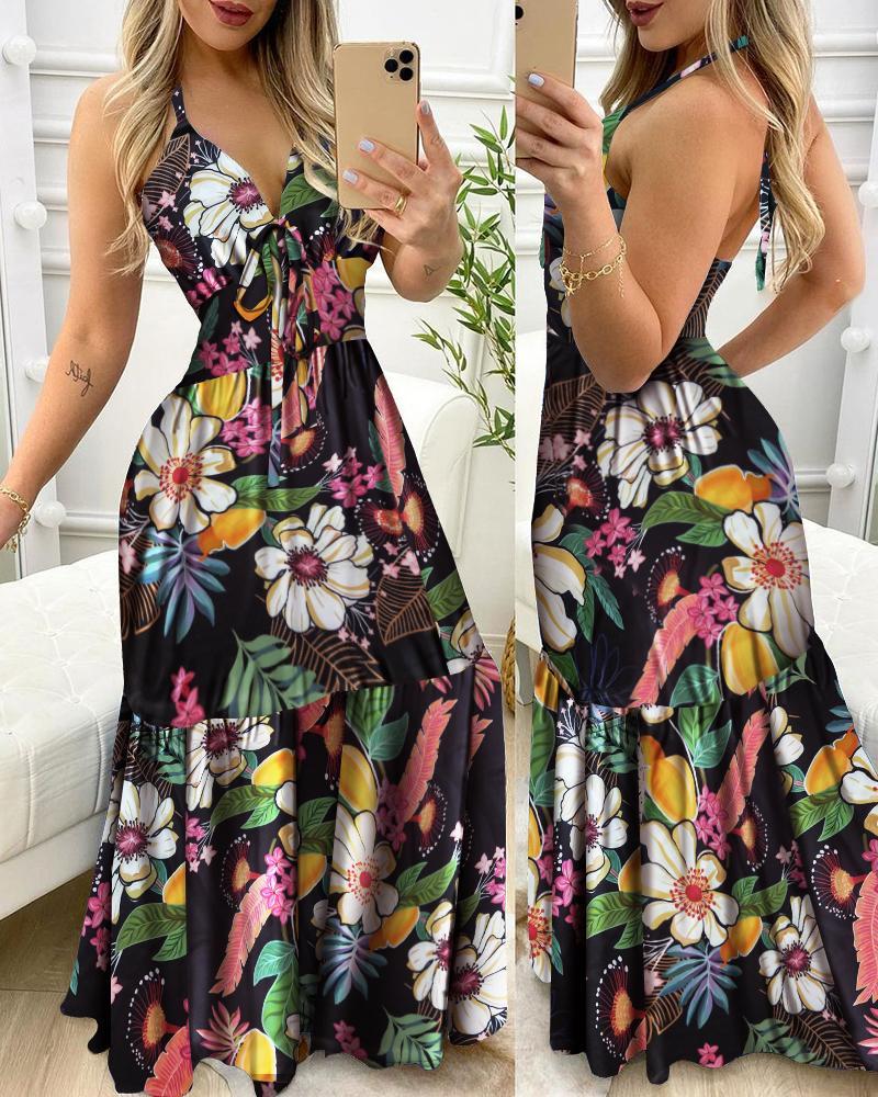 Floral Print Halter Ruffle Hem Maxi Dress