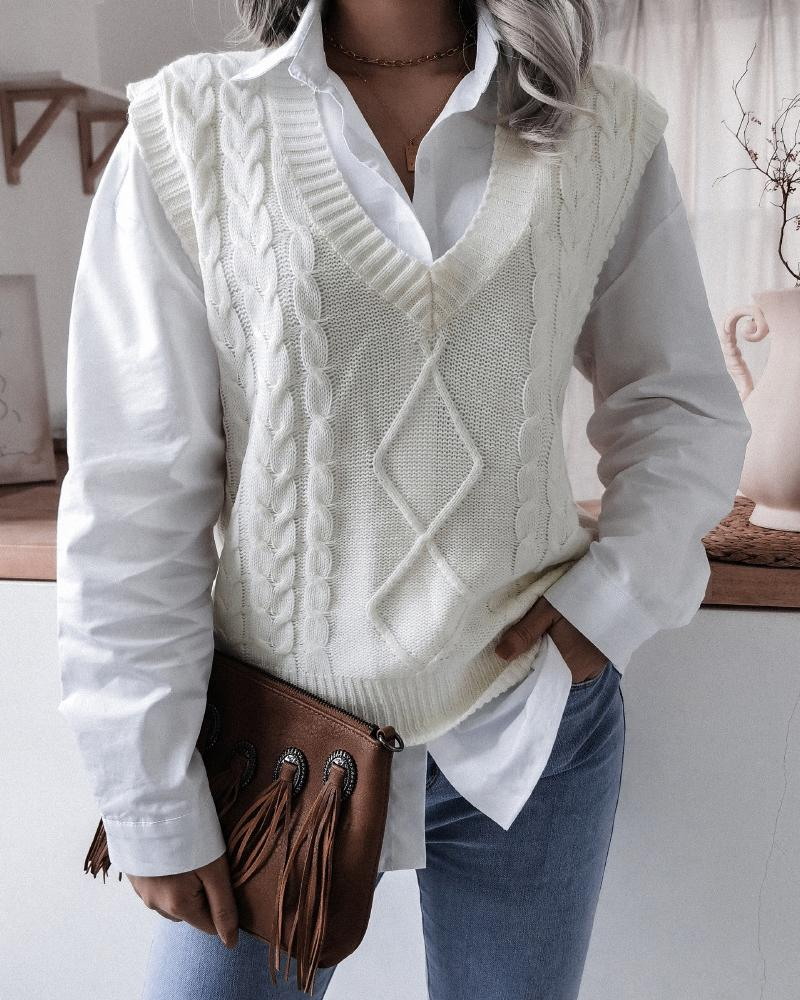 V-Neck Cable Knit Sweater Vest, ivrose, white  - buy with discount
