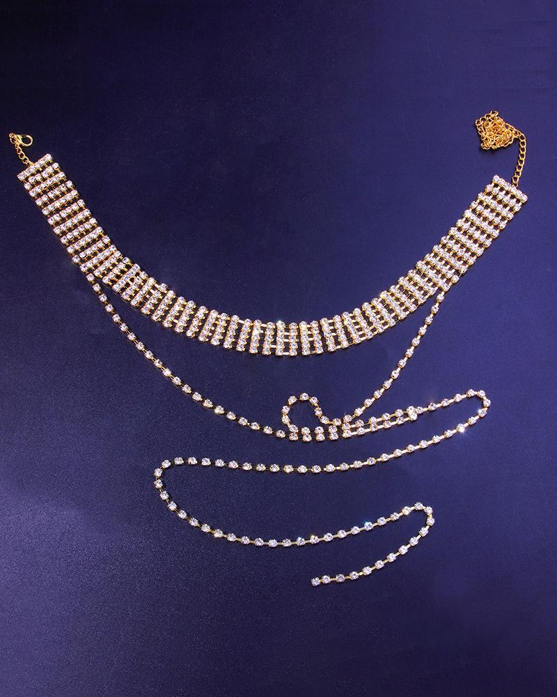 Tassel Design Wide Band Rhinestone Choker Necklace