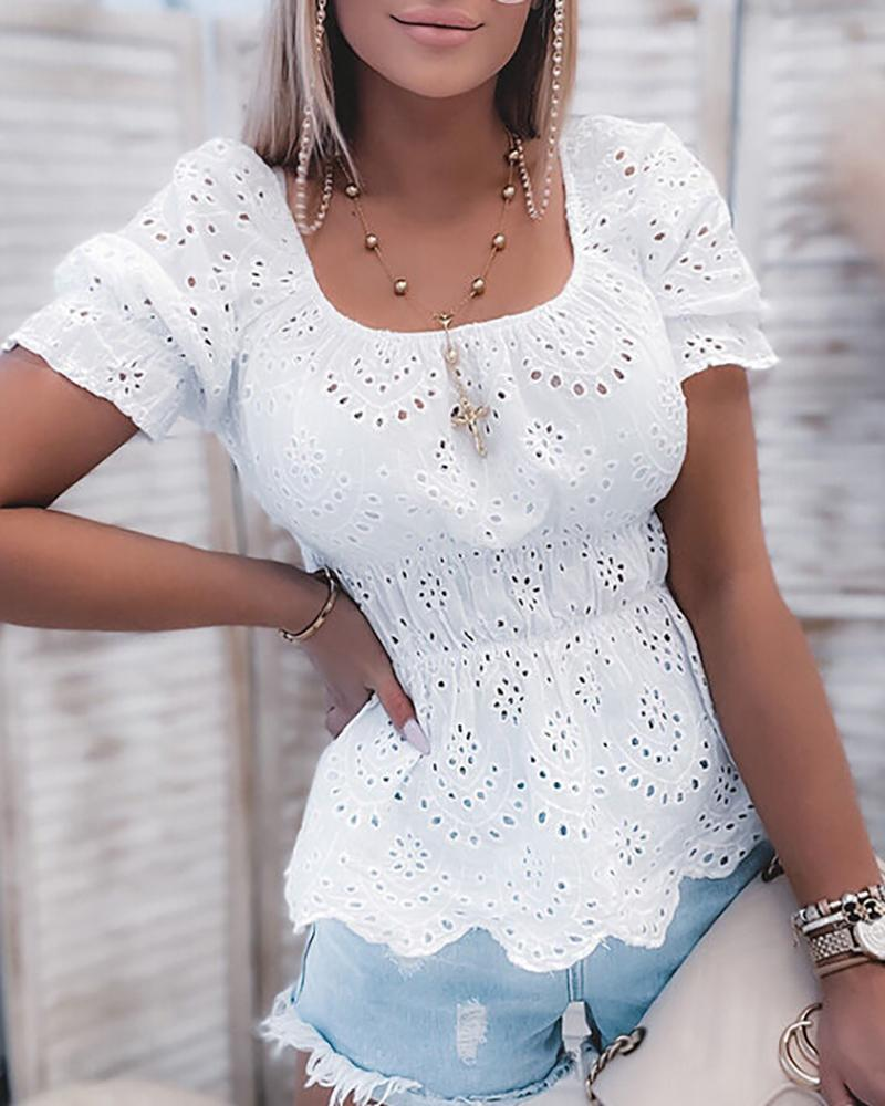 Puff Sleeve Eyelet Embroidery Casual Top, boutiquefeel, white  - buy with discount