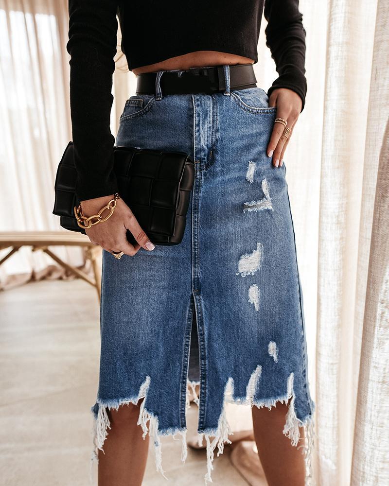 Fringe Hem Pocket Design Ripped Denim Skirt