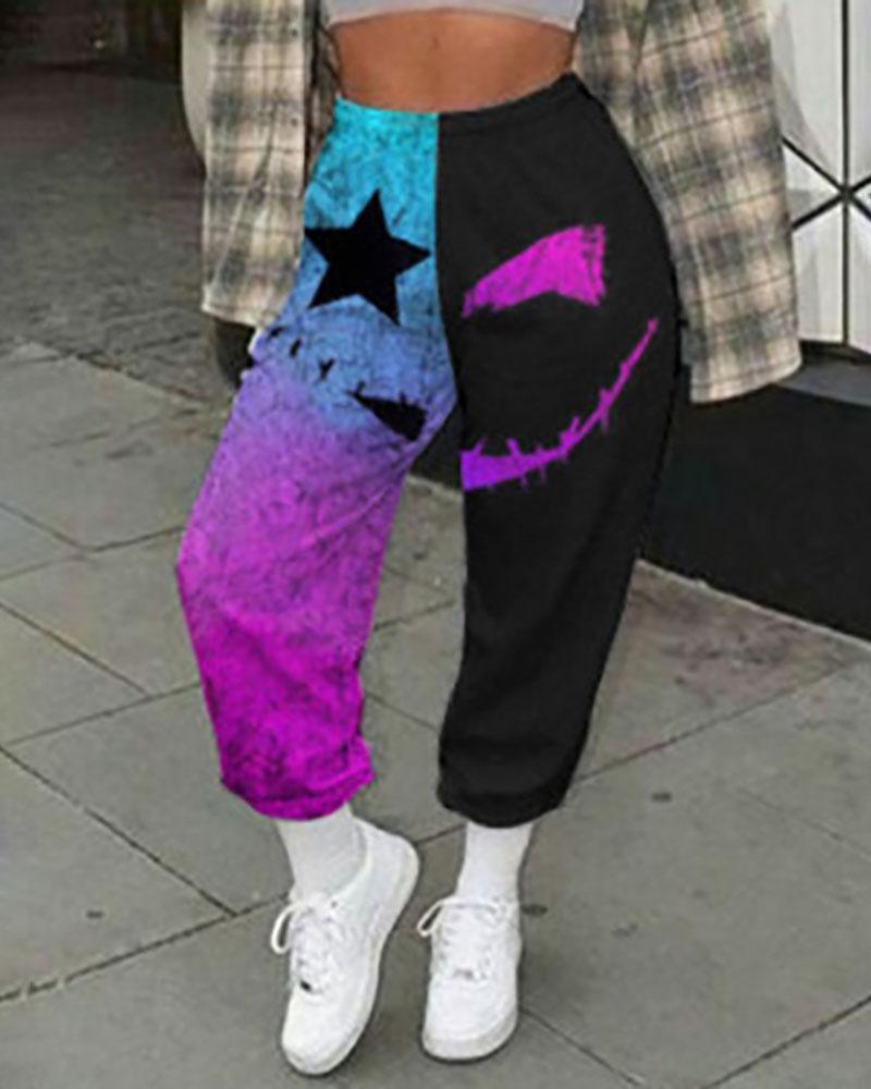 Halloween Graphic Print Colorblock High Waist Pants