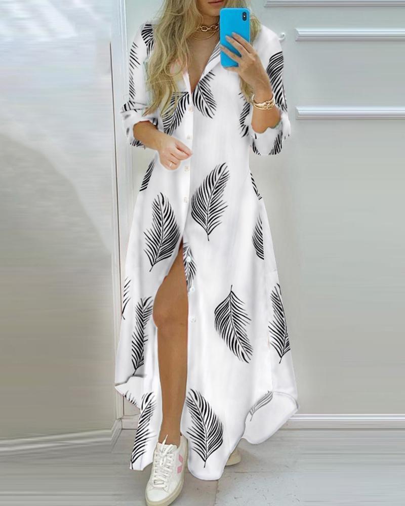 Leaf Print Button Front Long Sleeve Shirt Dress