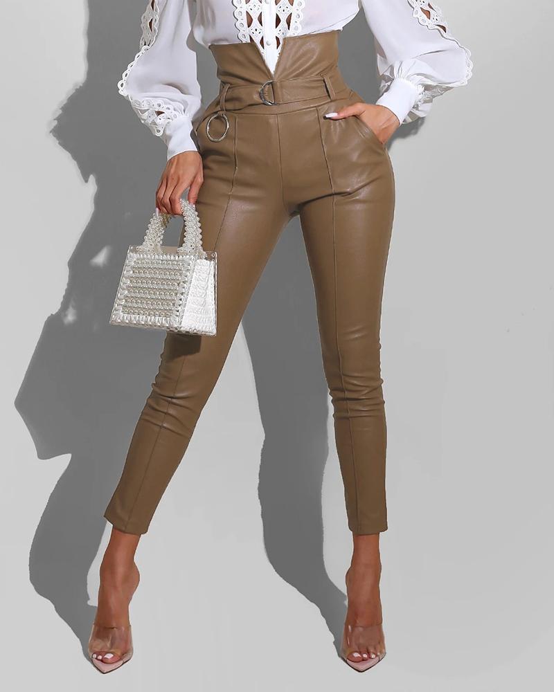 PU Leather High Waist Pocket Design Pants With Belt