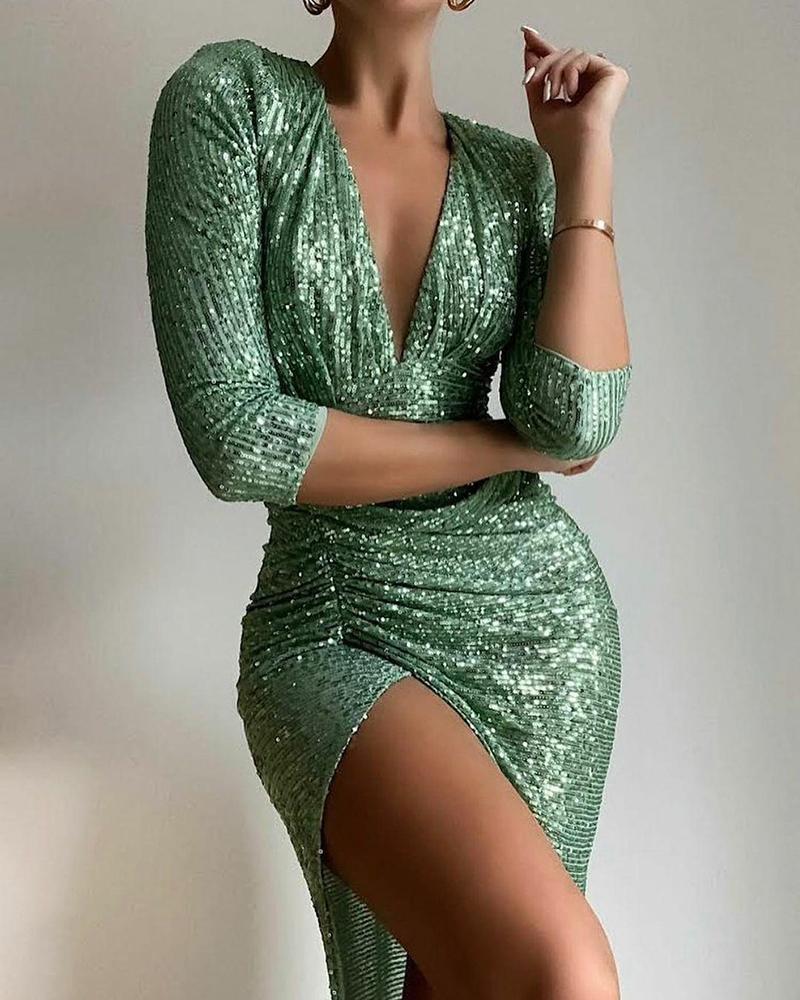 Deep V-Neck Gathered Waist Split Thigh Ruched Sequin Dress