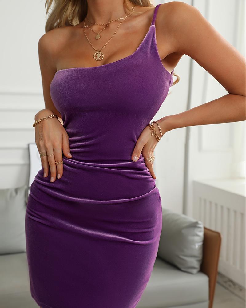 Velvet One Shoulder Ruched Bodycon Cami Dress