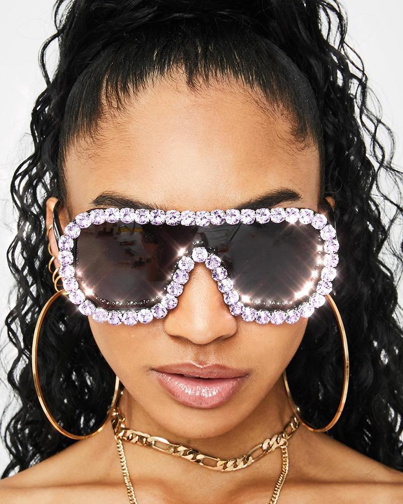 1Pair Rhinestone Frame Tinted Flat Top Sunglasses, Black