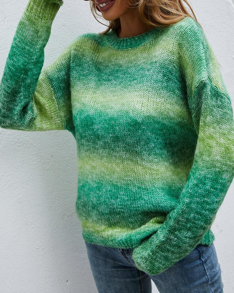 Long Sleeve Ombre Colorblock Knit Sweater
