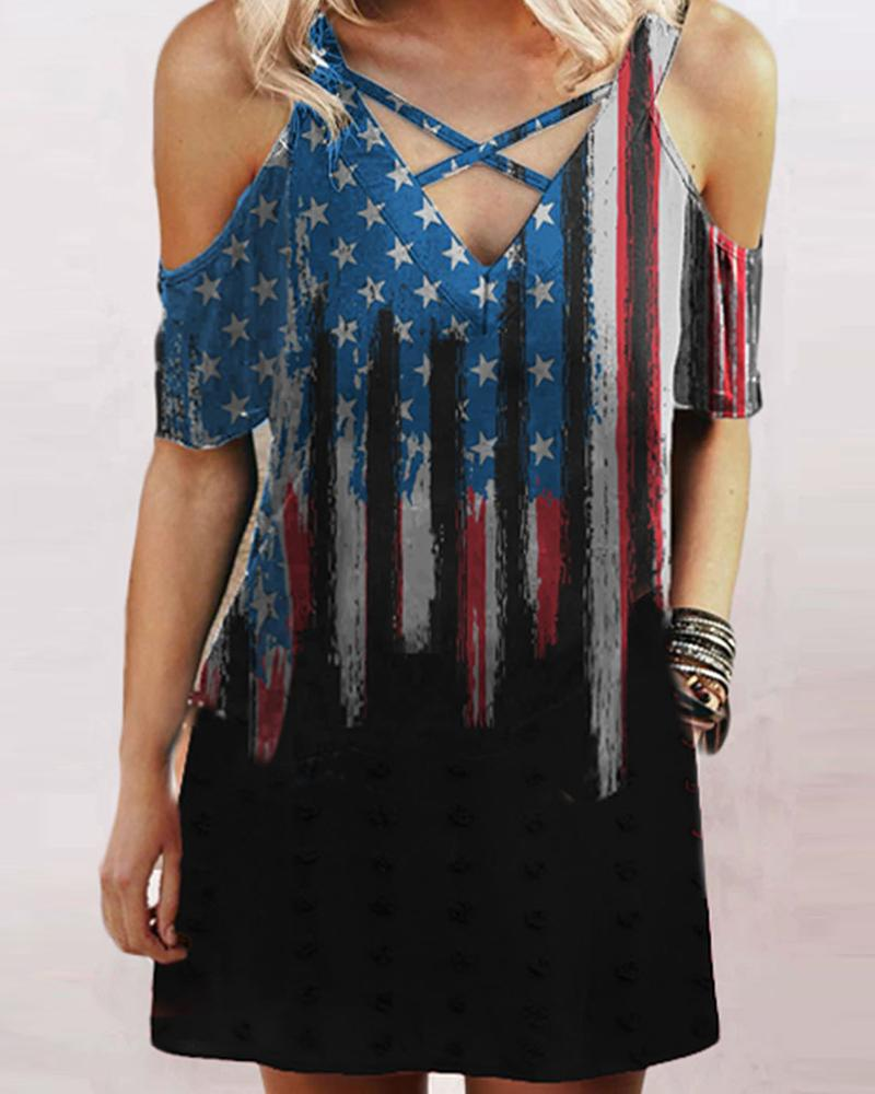 Cold Shoulder Flag Print Colorblock T-Shirt, Black