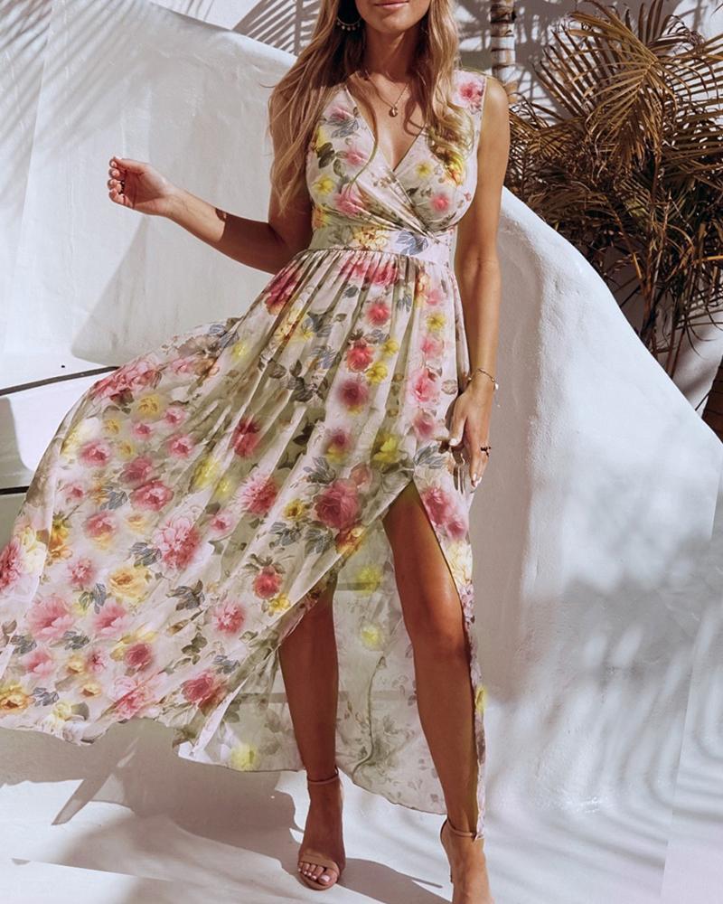 Floral Print V Neck High Slit Maxi Beach Dress