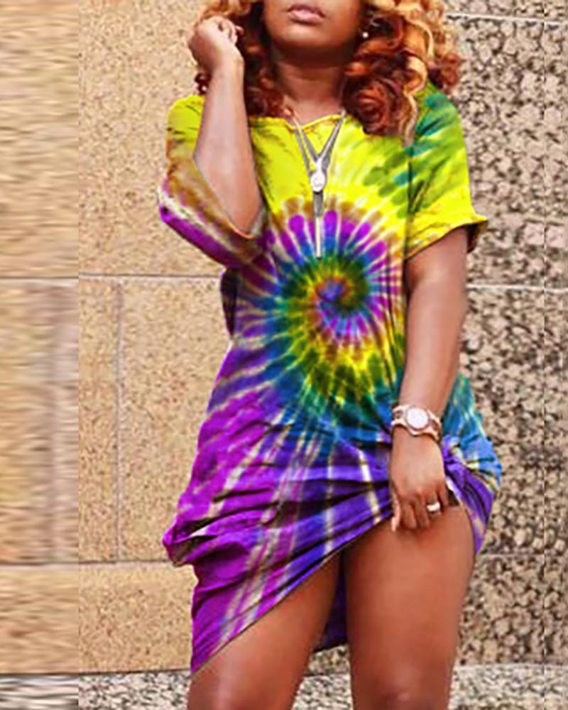 Colorful Tie Dye Print Casual Dress
