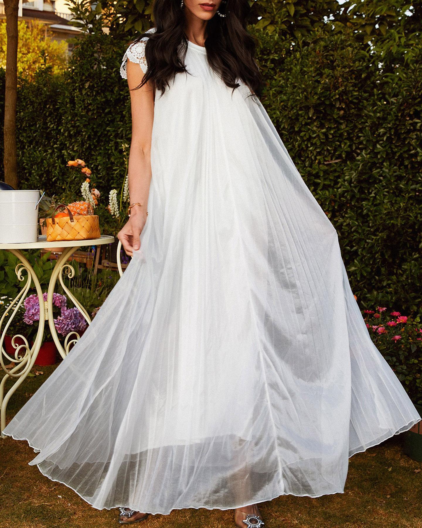 Plain Lace Embroidered Hem Ruffle Mesh Maxi Dress, White