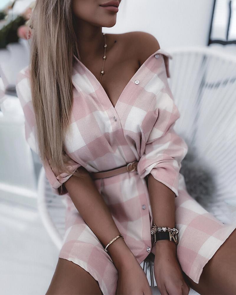 Plaid Print Colorblock Long Sleeve Shirt Dress