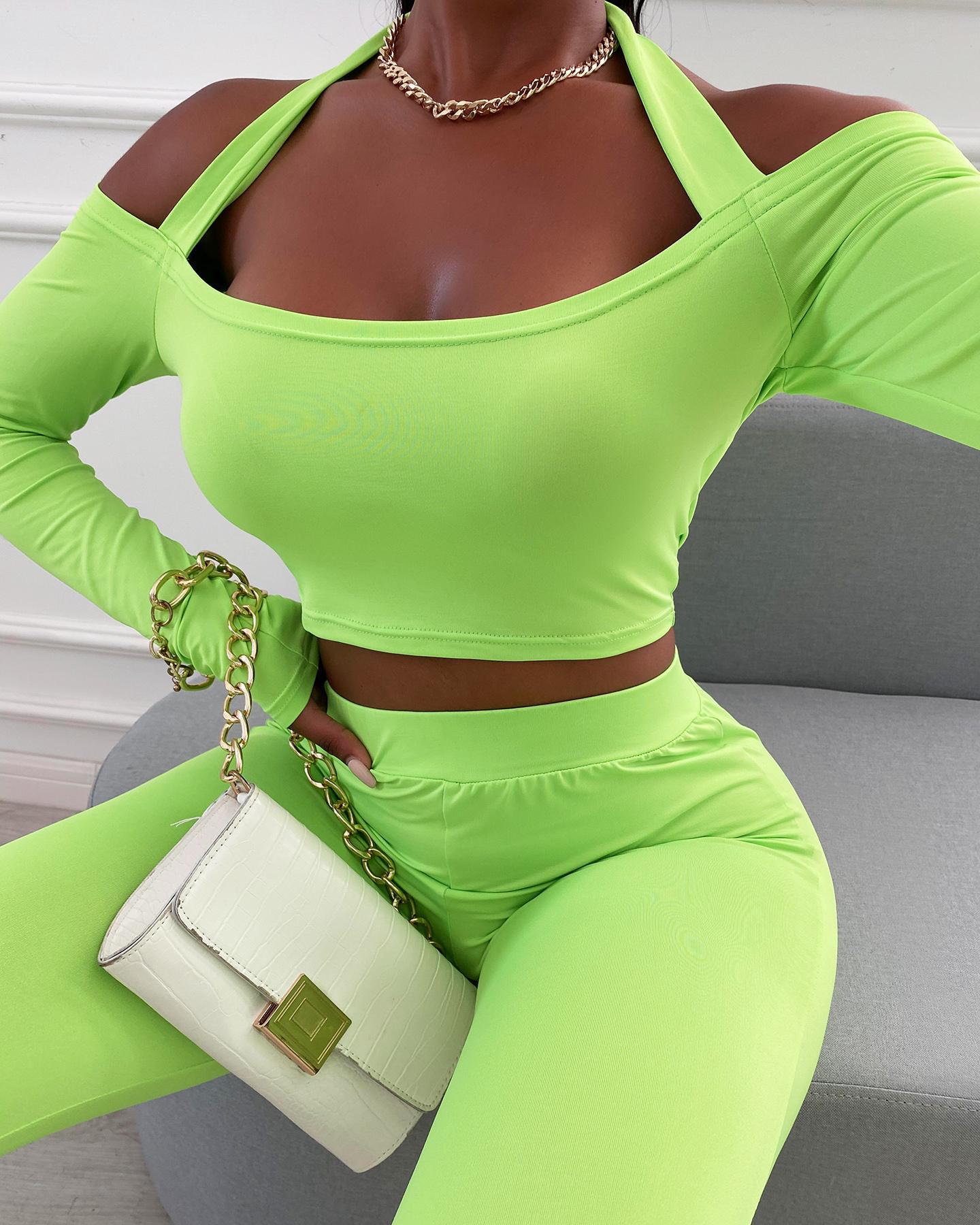 Halter Cold Shoulder Top & High Waist Pants Set, Green