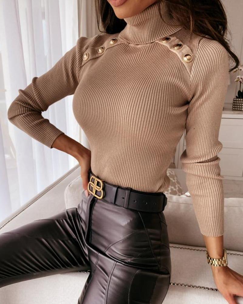 High Neck Buttoned Plain Knit Top