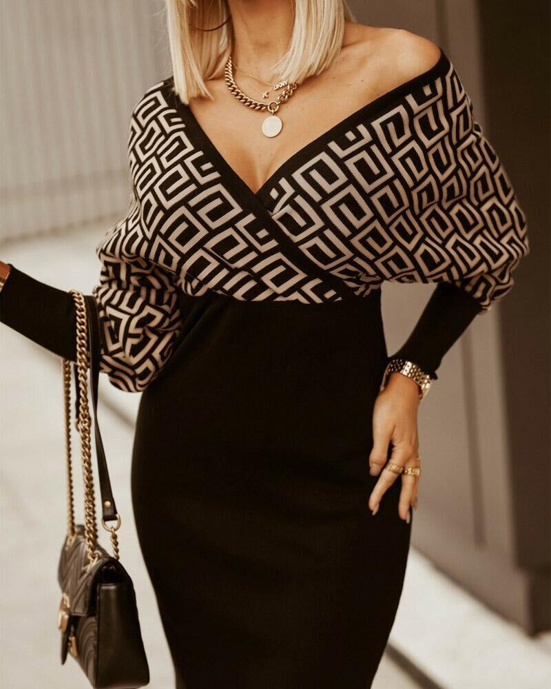 Geo Print Batwing Sleeve Skinny Wrap Dress, Black