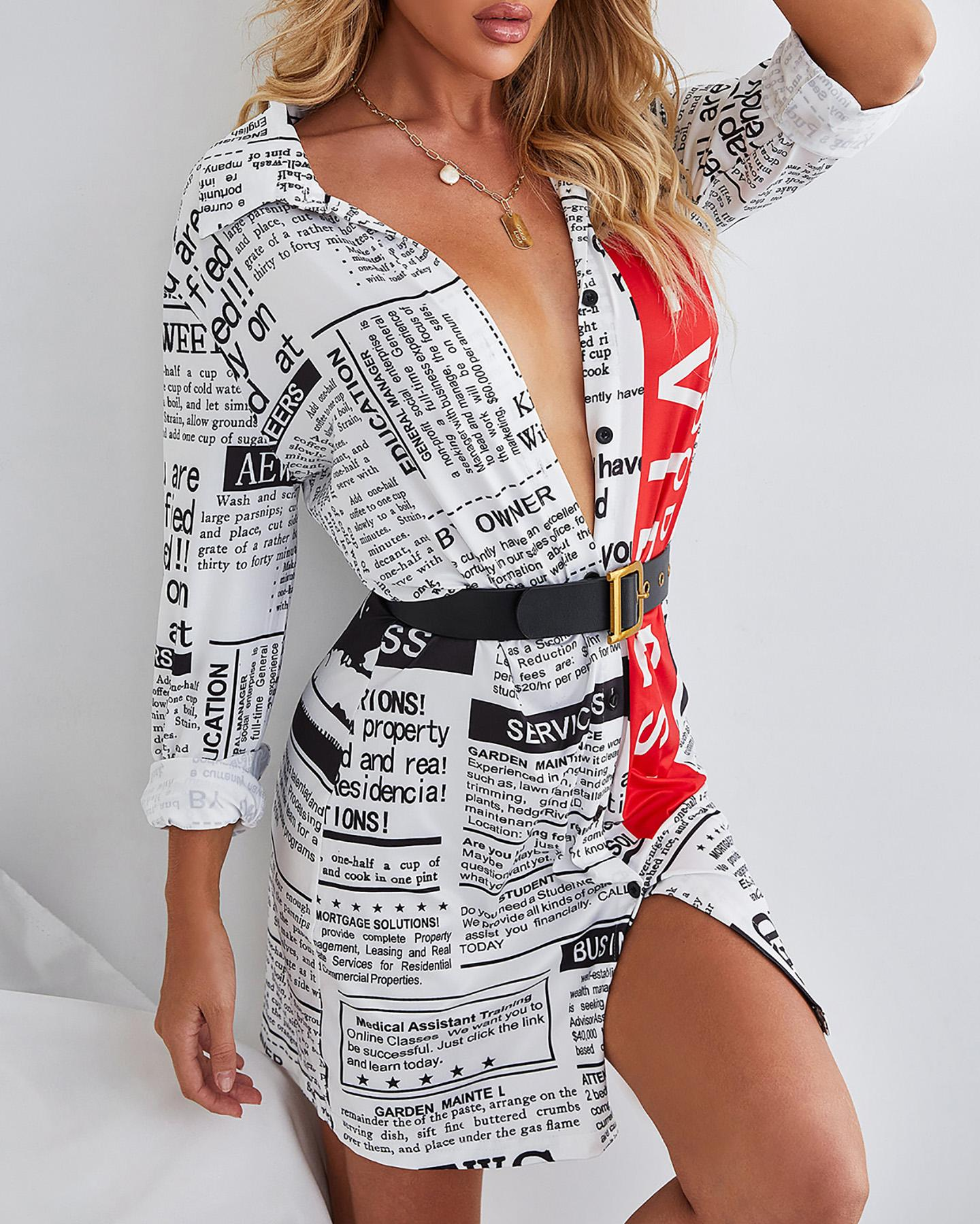 Newspaper Print Long Sleeve Shirt Dress Without Belt thumbnail