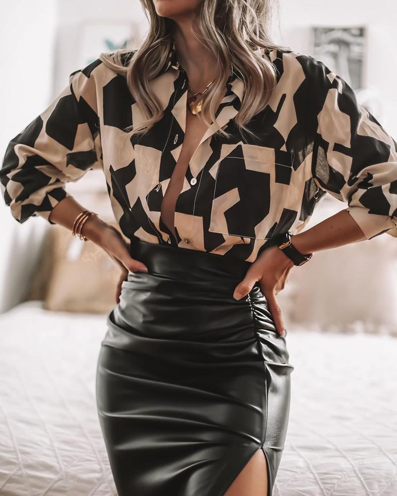 Houndstooth Print Buttoned Shirt & Slit Skirt Set