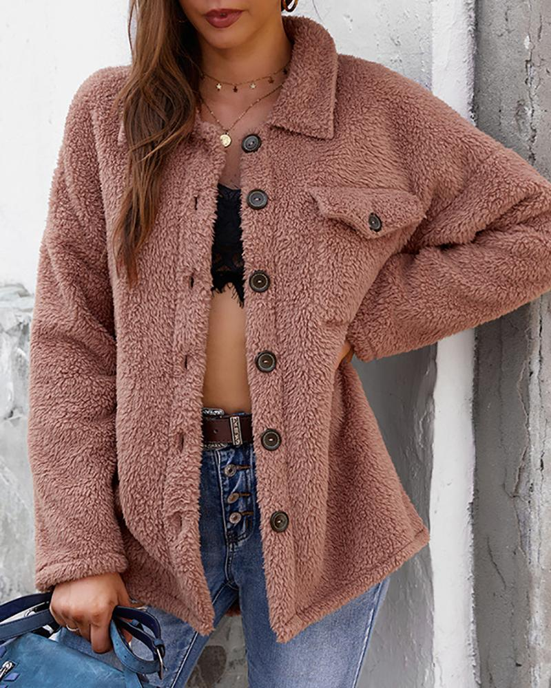 Button Pocket Design Fluffy Teddy Coat