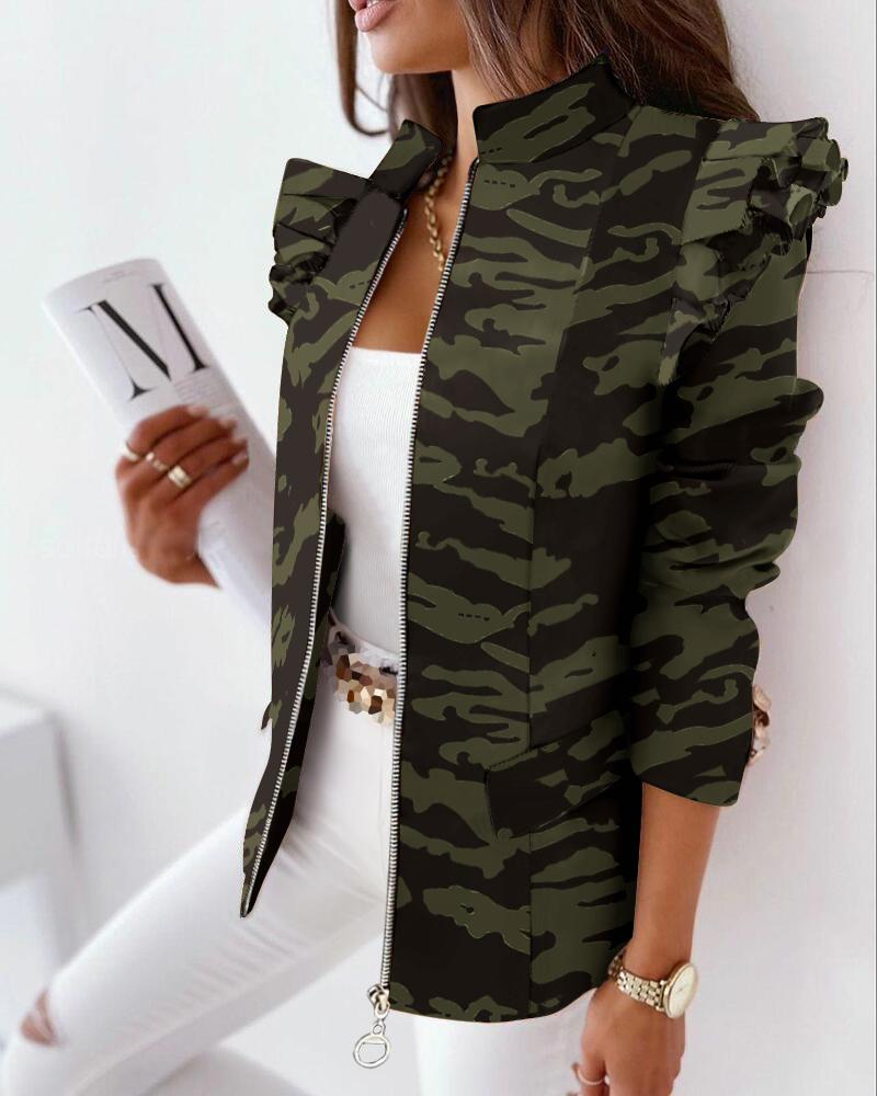 Camouflage Print Ruffle Hem Zip Up Coat, Green