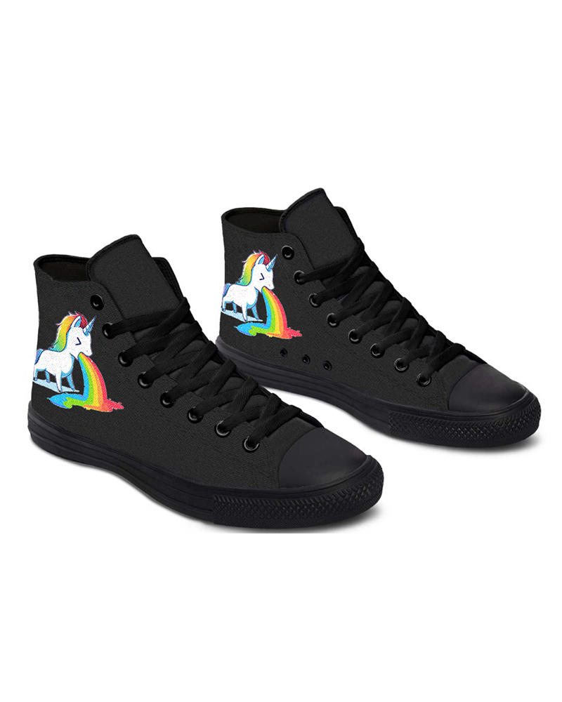 Womens Unicorn Rainbow Print Round Toe Lace-up High Top Canvas Casual Shoes, Black