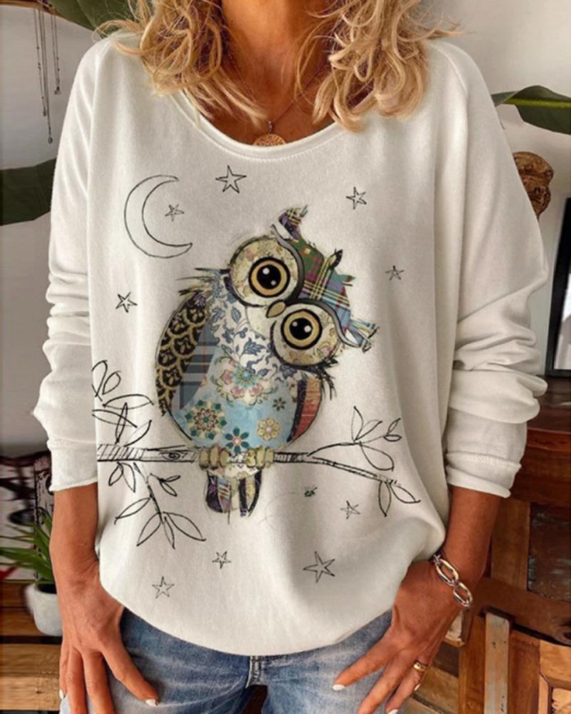 Owl Pattern Star Print Long Sleeve Sweatshirt