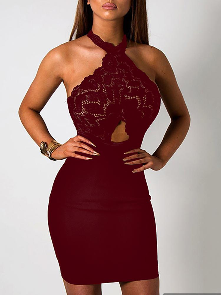 Joyshoetique coupon: Splicing Lace Hollow Halter Neck Mini Dress