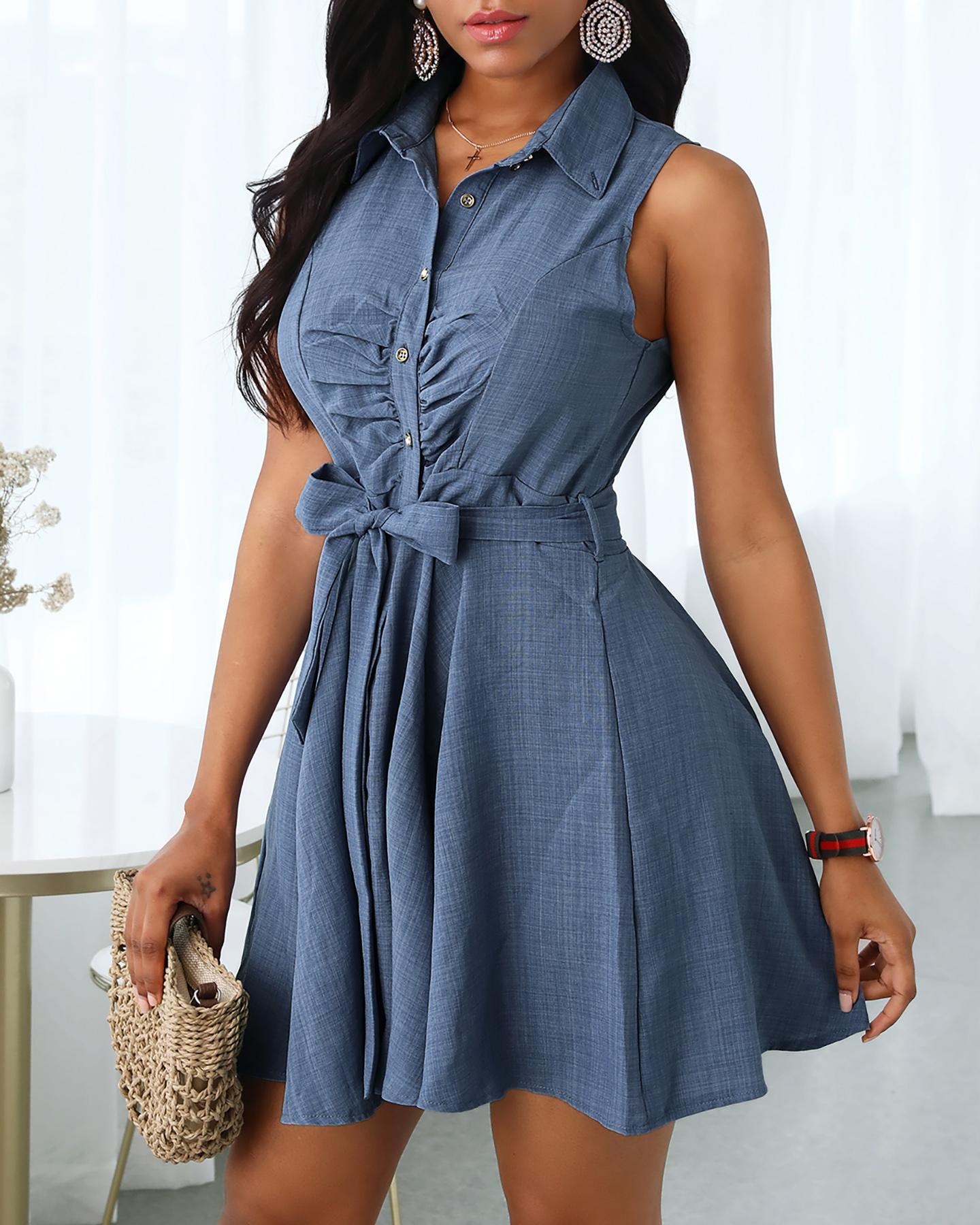 Sleeveless V-Neck Tie Waist Shirt Dress