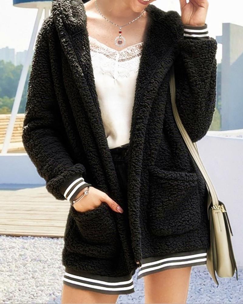 Pocket Design Striped Hooded Teddy Coat