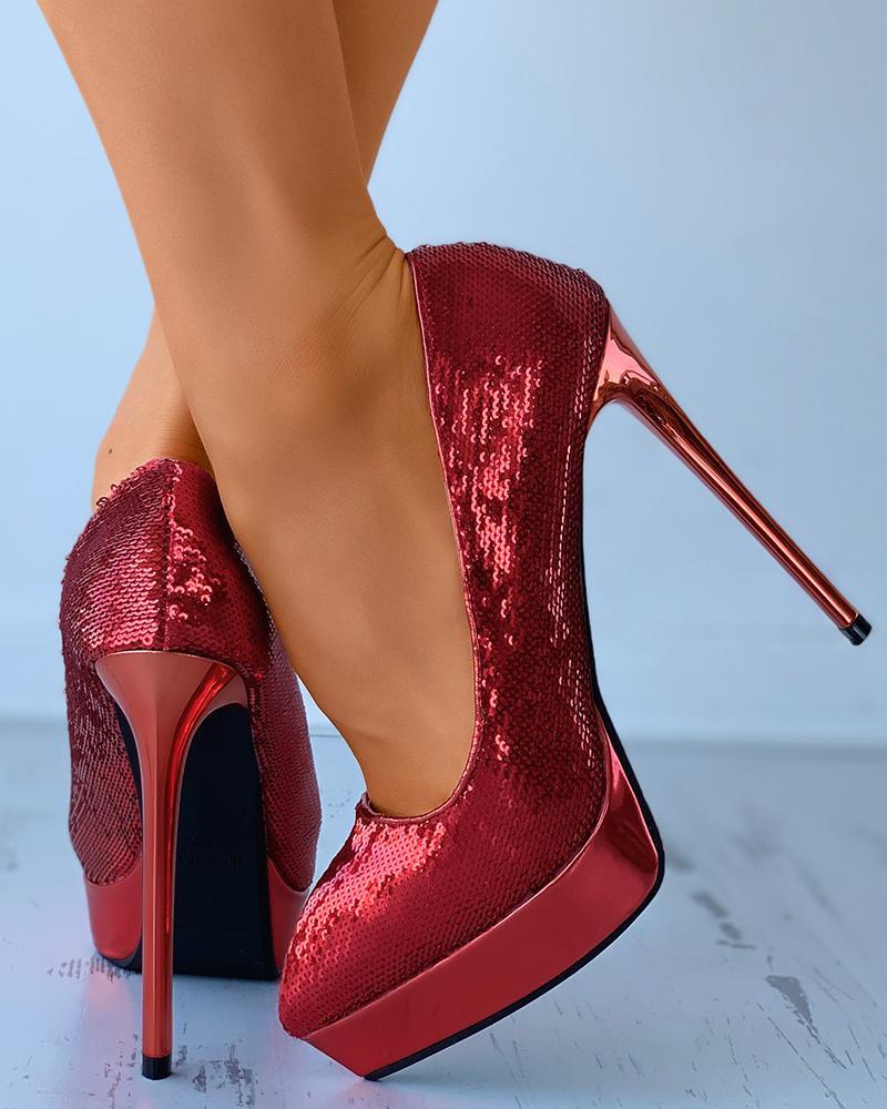 Allover Sequins Platform Stiletto Heels thumbnail