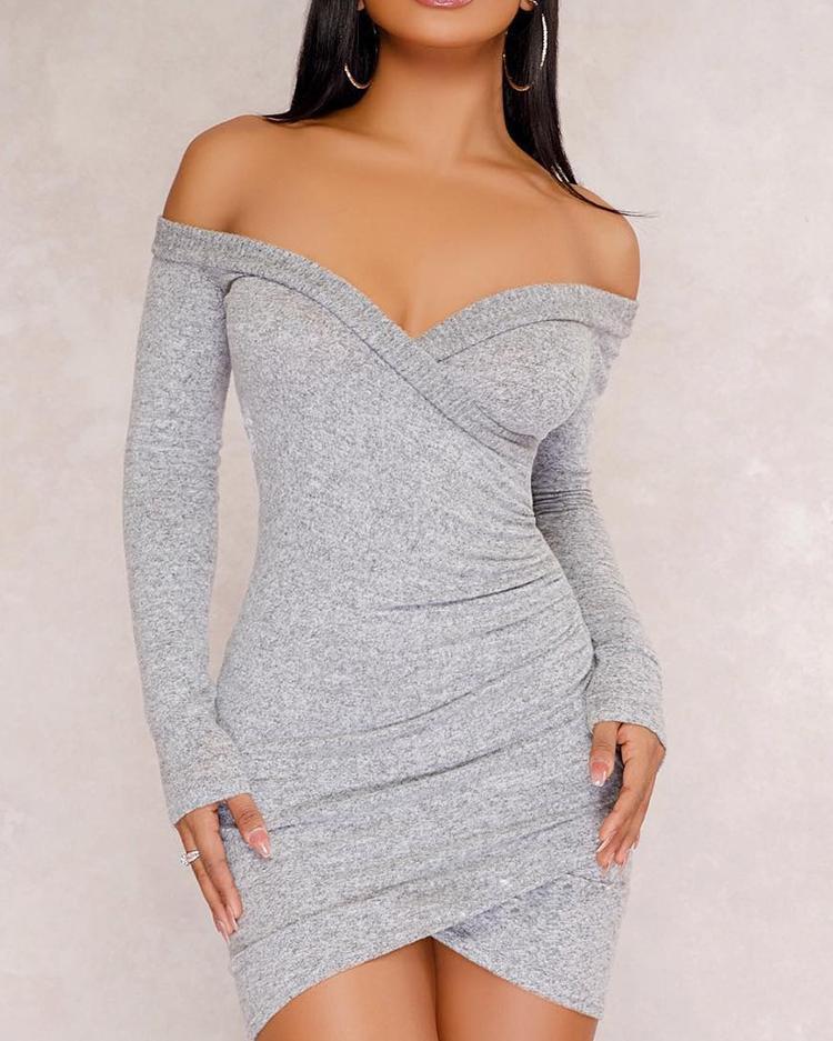 Off Shoulder Long Sleeve Bodycon Dress thumbnail