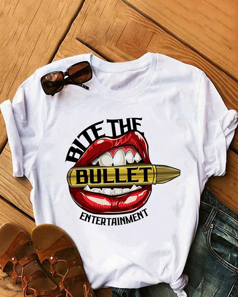 Lip Letter Graphic Print Short Sleeve T-shirt
