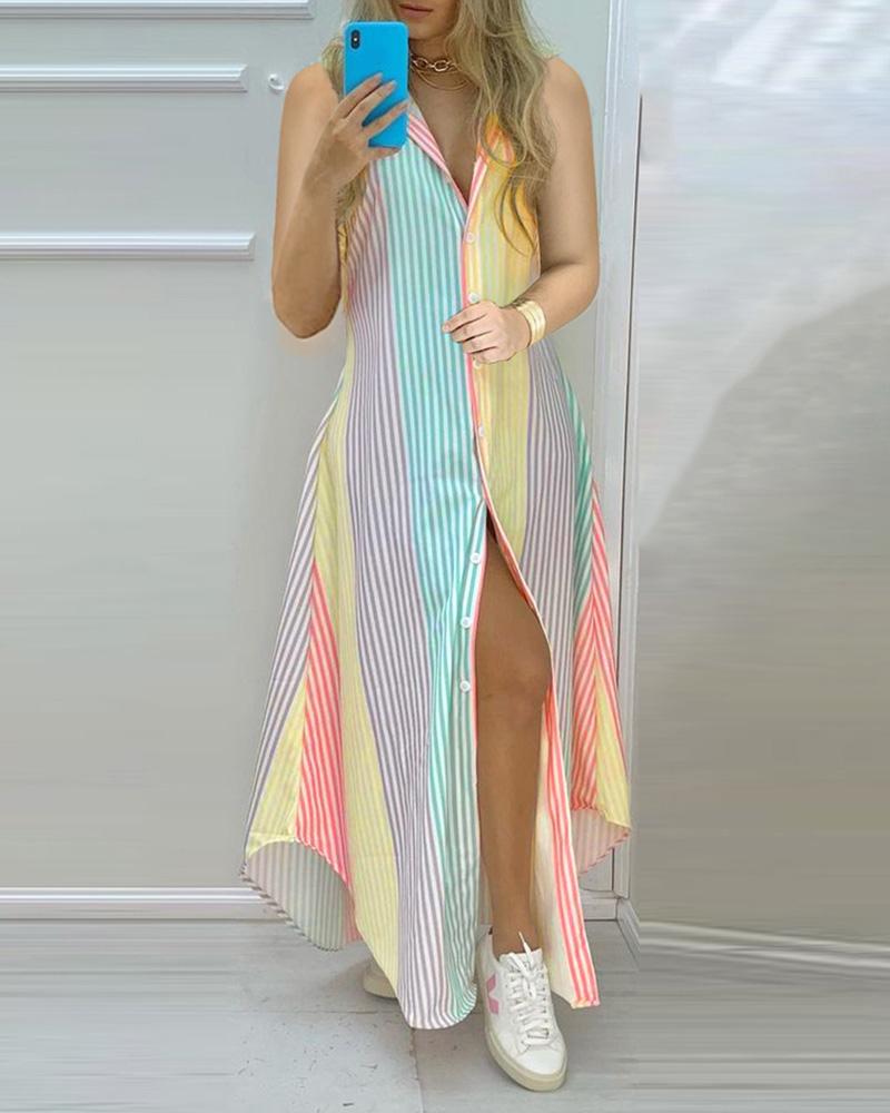 Vestido sin mangas con diseño de botones en bloques de color a rayas